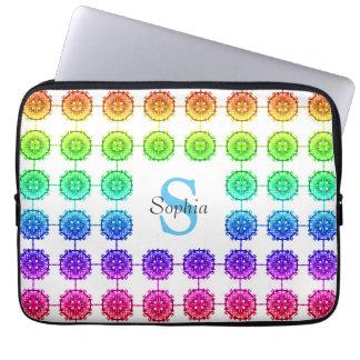 "Colorful Rainbow Pattern Monogram Laptop 13""-14"" Laptop Sleeves"