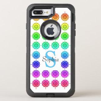 Colorful Rainbow Pattern Monogram OtterBox Defender iPhone 8 Plus/7 Plus Case