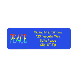 Colorful Rainbow Peace Word Address Labels
