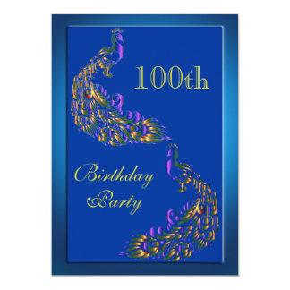 Colorful Rainbow Peacocks 100th Birthday Card