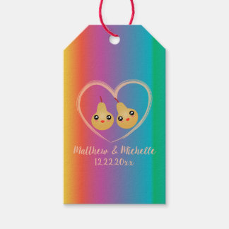 Colorful Rainbow Perfect Pear Cute Wedding Favor Gift Tags