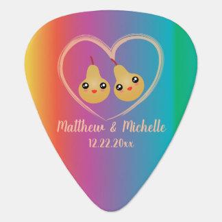 Colorful Rainbow Perfect Pear Cute Wedding Favor Guitar Pick