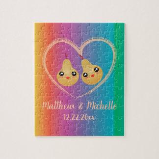 Colorful Rainbow Perfect Pear Cute Wedding Favor Jigsaw Puzzle