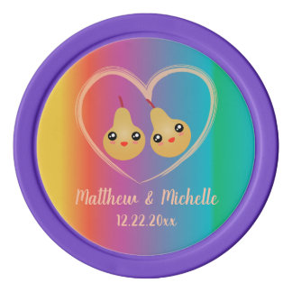Colorful Rainbow Perfect Pear Cute Wedding Favor Poker Chips