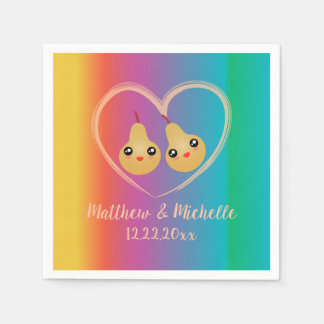 Colorful Rainbow Perfect Pear Cute Wedding Party Paper Napkins