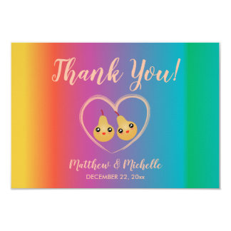 Colorful Rainbow Perfect Pear Wedding Thank You Card