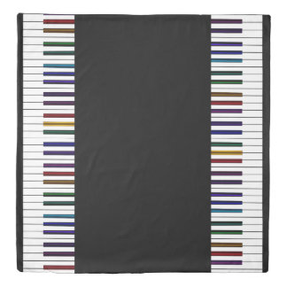 Colorful Rainbow Piano Keyboard Music Bedspread