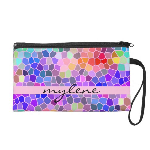 Colorful Rainbow Pink Blue Abstract Funky Mosaic Wristlet