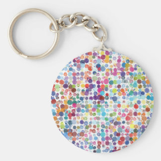 Colorful Rainbow Polka Dot Watercolor Basic Round Button Keychain