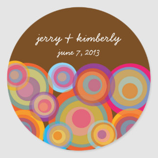 Colorful Rainbow Pop Circle Summer Wedding Sticker