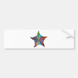 Colorful Rainbow Prism Swirling Star Bumper Sticker