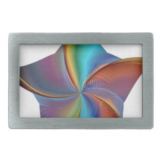Colorful Rainbow Prism Swirling Star Rectangular Belt Buckle