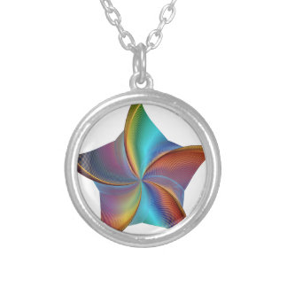 Colorful Rainbow Prism Swirling Star Silver Plated Necklace