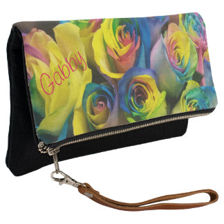 Colorful Rainbow Roses Print Personalized Clutch