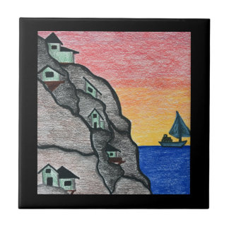 Colorful Rainbow Seaside Folk Art Fishing Village Tile