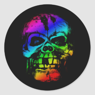 Colorful Rainbow Skull Classic Round Sticker