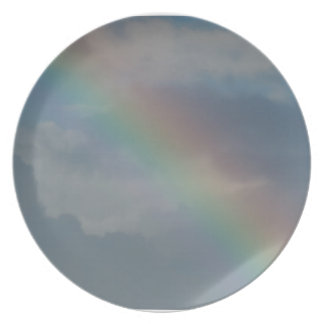 Colorful Rainbow stripe in the sky Plate