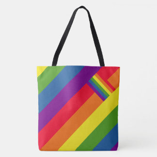 Colorful Rainbow Stripes Celebration with Flag Tote Bag