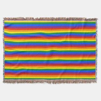 Colorful Rainbow Stripes Gay Pride Afghan Throw