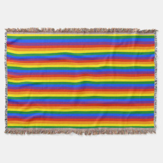 Colorful Rainbow Stripes Gay Pride Afghan Throw Blanket