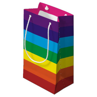 Colorful Rainbow Stripes Pattern Party Supplies Small Gift Bag