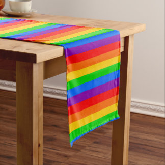 Colorful Rainbow Stripes Short Table Runner