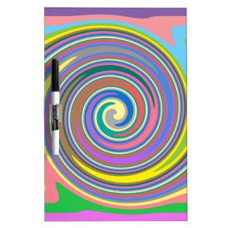 Colorful rainbow swirl pattern dry erase board