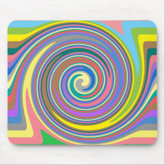 Colorful rainbow swirl pattern mouse pad