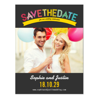 Colorful Rainbow Text Summer Save The Date Photo Postcards
