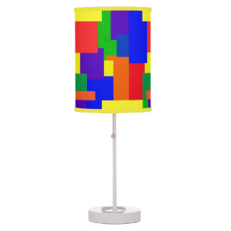 Colorful Rainbow Textured Patchwork Quilt Design Table Lamp