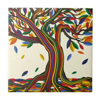 Colorful rainbow tree with bright colors tile