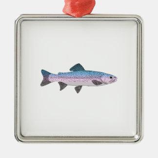 Colorful Rainbow Trout Silver-Colored Square Ornament