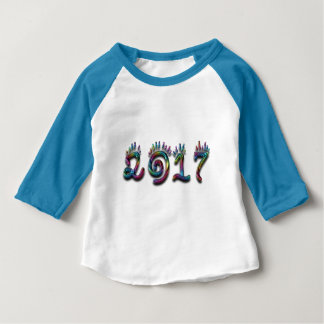 Colorful Rainbow Typography Happy New Year 2017 Baby T-Shirt