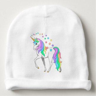 Colorful Rainbow Unicorn and Stars Baby Beanie