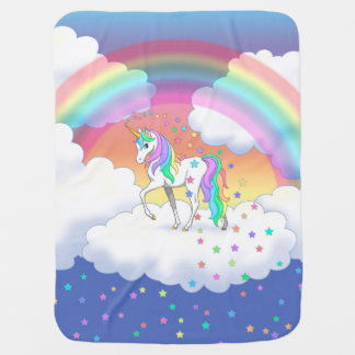 Colorful Rainbow Unicorn and Stars Baby Blankets