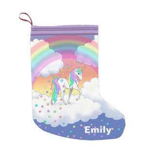 Colorful Rainbow Unicorn and Stars Small Christmas Stocking