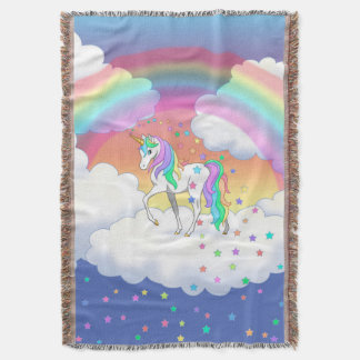 Colorful Rainbow Unicorn and Stars Throw Blanket