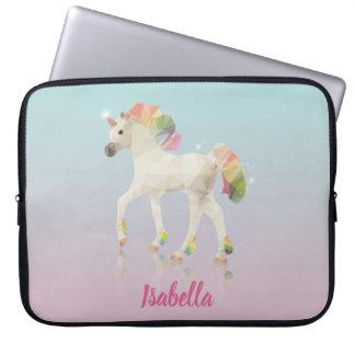 Colorful Rainbow Unicorn Poly Name - Laptop Sleeve