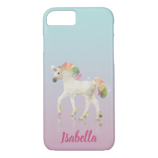 Colorful Rainbow Unicorn Polygon Name iPhone Case