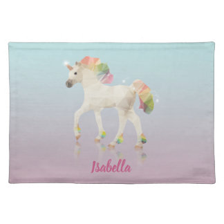 Colorful Rainbow Unicorn Polygon Name - Placemat