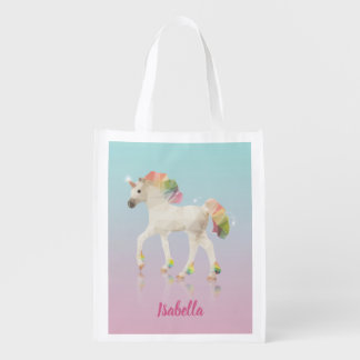 Colorful Rainbow Unicorn Polygon Name Reusable Bag