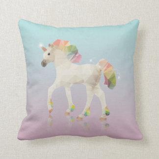 Colorful Rainbow Unicorn Polygon - Pillow