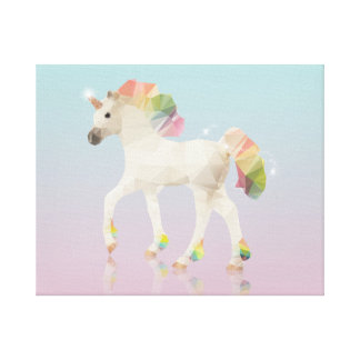 Colorful Rainbow Unicorn Polygon - Wrapped Canvas