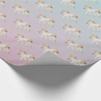 Colorful Rainbow Unicorn Polygon - Wrapping Paper