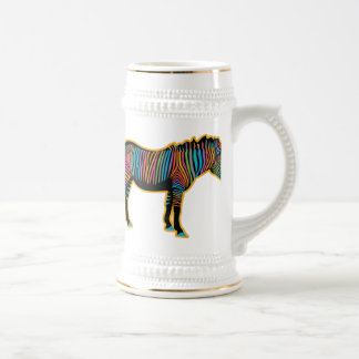 Colorful Rainbow Zebra Beer Stein
