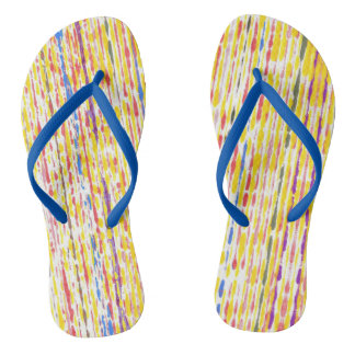 Colorful Raindrops Rainbow Stripes FlipFlops