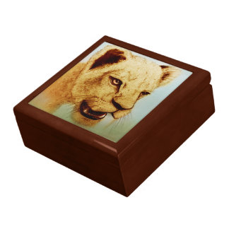 Colorful realistic sketch tile gift box - Lion