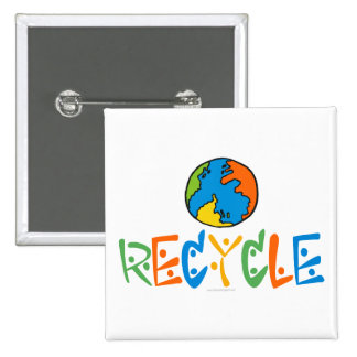 Colorful Recycle 2 Inch Square Button