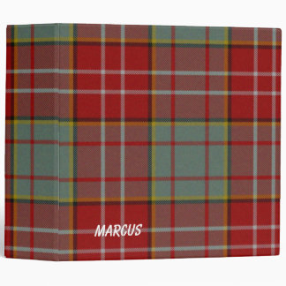 Colorful Red and Gray Ogilvie Plaid Binder