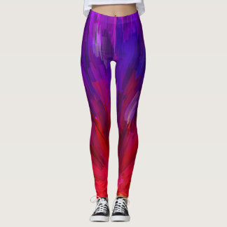 Colorful Red And Purple Asymmetrical Pattern Leggings